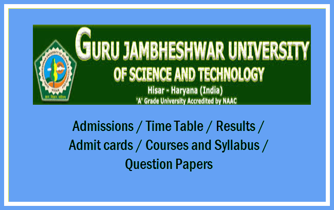 Guru Jambheshwar University of Science & Technology Question
