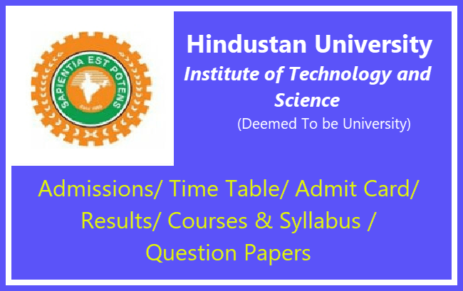 Hindustan University Courses and Syllabus 2019 | Download Here