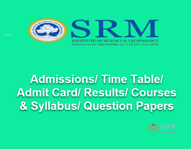 SRM University Question Papers 2019 & Previous Papers