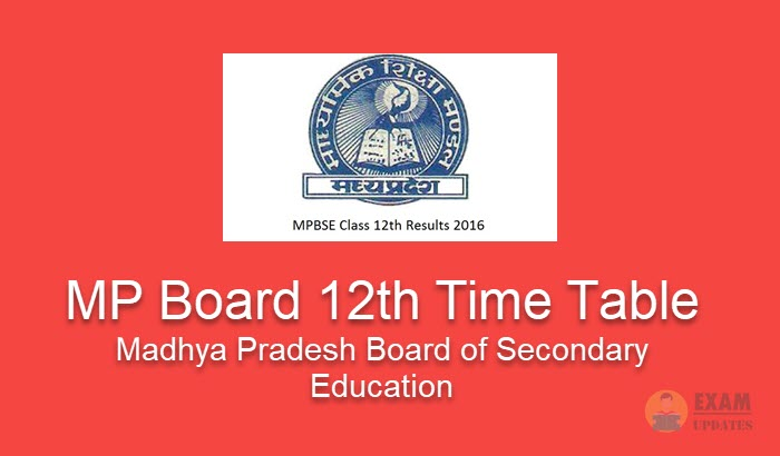 MP Board 12th Time Table 2019 - MPBSE 12th Class Exam Dates