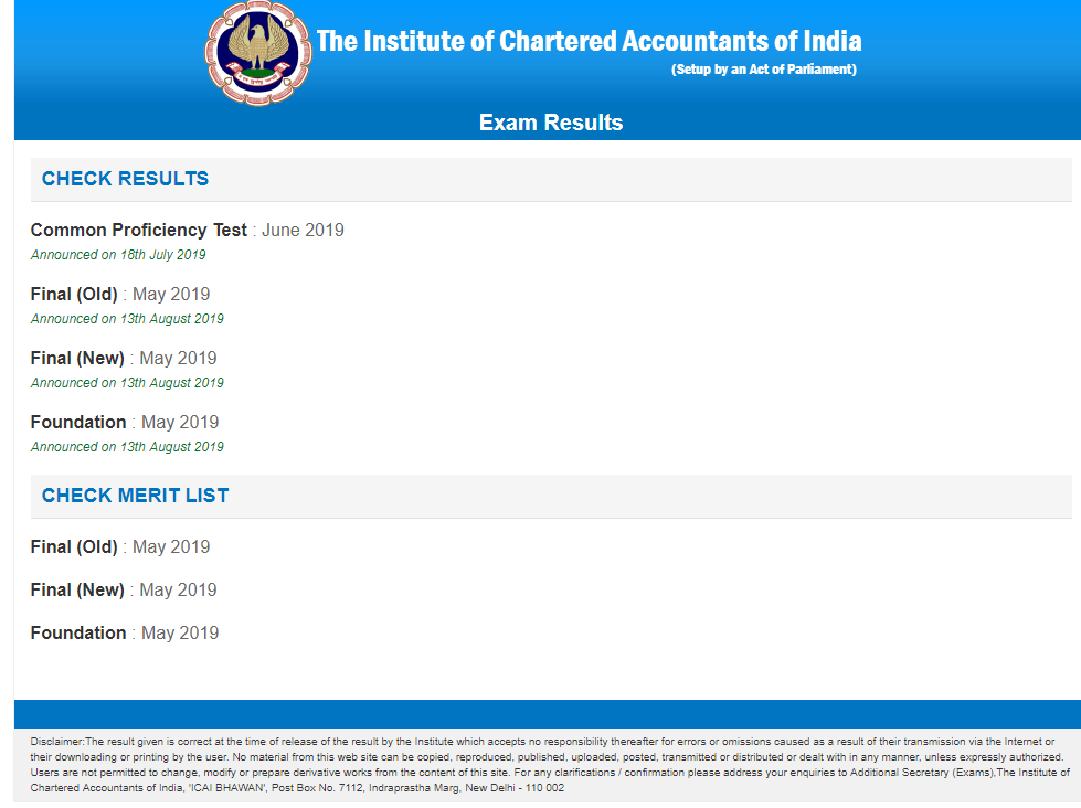 CA Final May 2019 Result