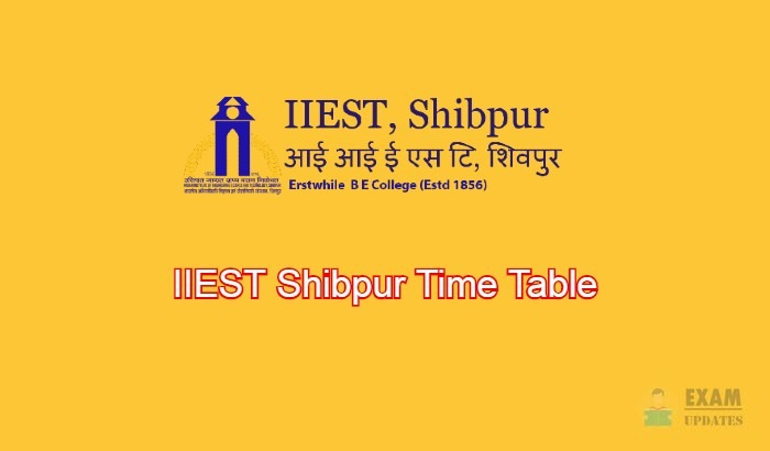 IIEST Shibpur Time Table
